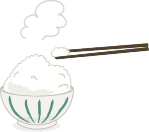 お茶碗1杯の炊きたてご飯のイラスト