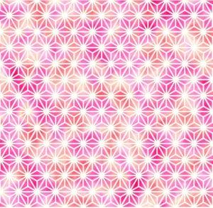麻の葉模様、ピンク、ホワイト