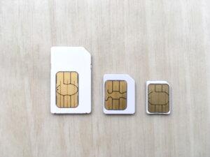 SIMカード3種類の写真
