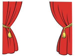 赤いカーテンのイラスト